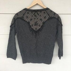 Dark Grey Knit Cardigan Lace